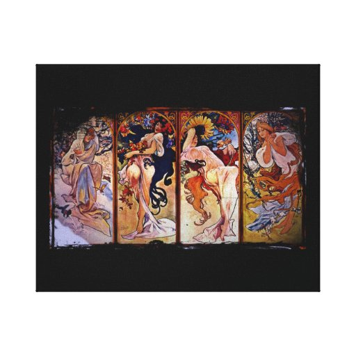 Four Seasons Personified by Women Stretched Canvas Print