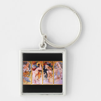 Four Seasons Silver-Colored Square Key Ring