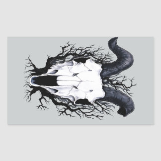 Four Seasons Skulls: Winter Chill Rectangular Sticker