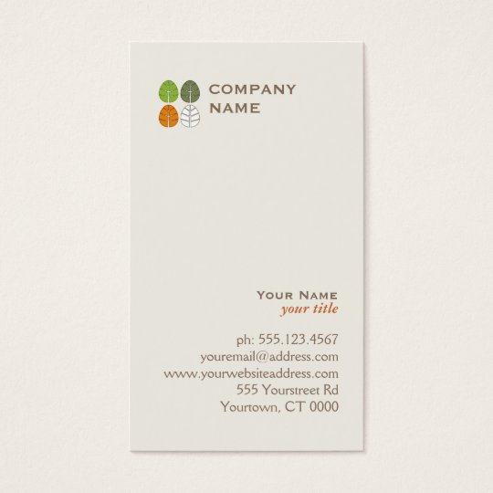 Four Seasons Tree Leaf Logo Business Card