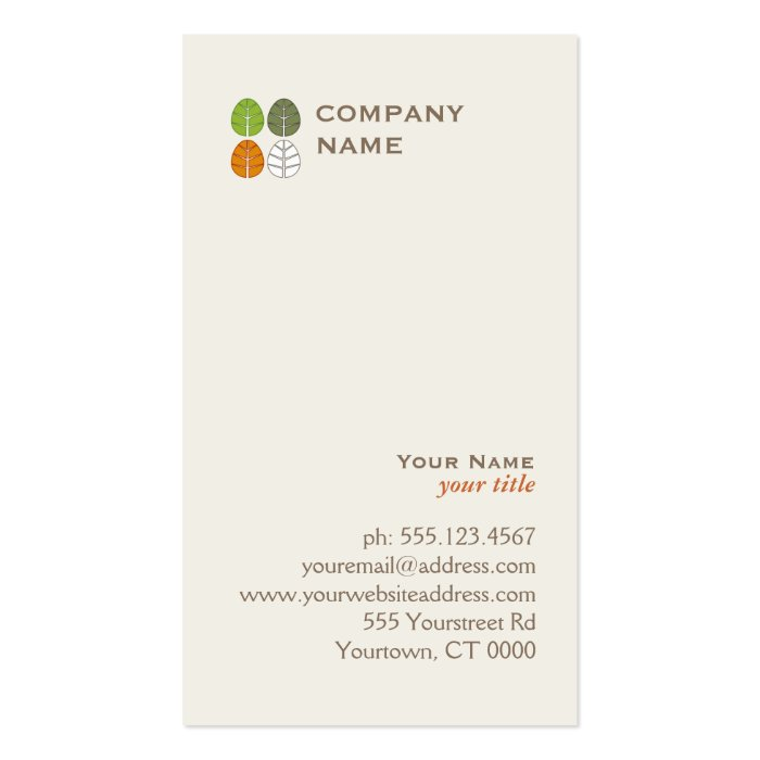 Four Seasons Tree Leaf Logo Pack Of Standard Business Cards