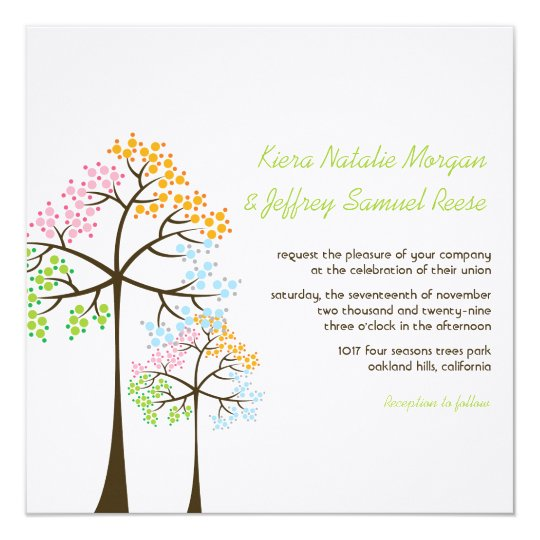 Four Seasons Trees Forest Woodland Wedding Invite