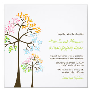 Four Seasons Trees Forest Woodland Wedding Invite