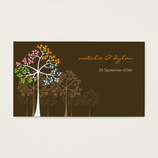 Four Seasons Trees on Brown Place Card /