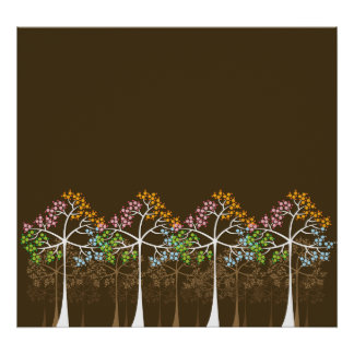 Four Seasons Trees on Brown Poster