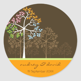 Four Seasons Trees on Brown Seal / Favor / Gift Round Sticker