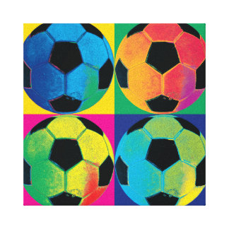 Four Soccer Balls in Different Colors Canvas Print
