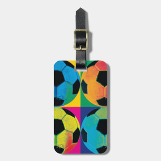 Four Soccer Balls in Different Colors Luggage Tag