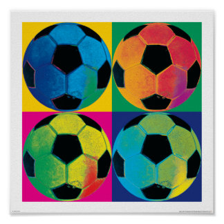 Four Soccer Balls in Different Colors Poster