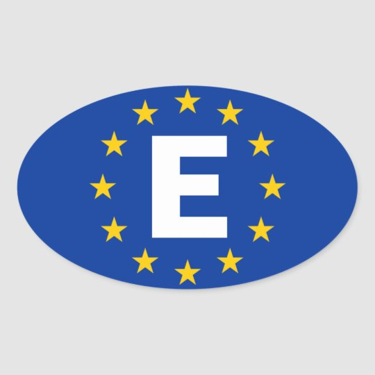 "FOUR Spain ""E"" European Union Flag Oval Sticker"