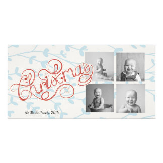 Four Square Photos Whimsical Christmas Customized Photo Card