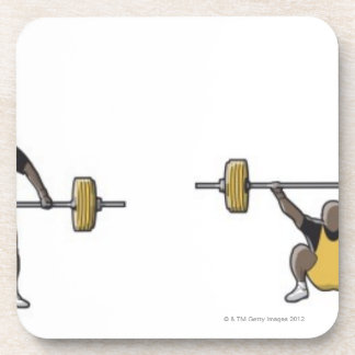 Four stages of weightlifter lifting barbell coaster