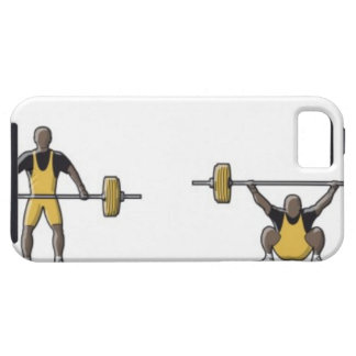 Four stages of weightlifter lifting barbell iPhone 5 cases