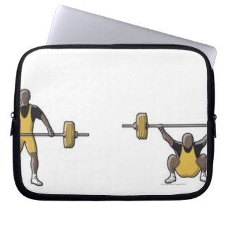 Four stages of weightlifter lifting barbell laptop sleeve