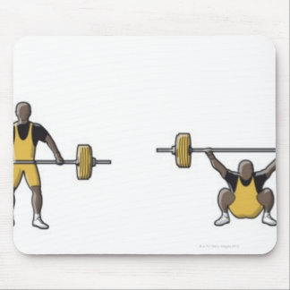 Four stages of weightlifter lifting barbell mouse mat