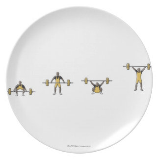 Four stages of weightlifter lifting barbell plate