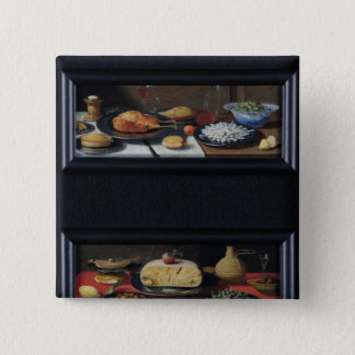 Four Still Lives of Food and Fruit 15 Cm Square Badge