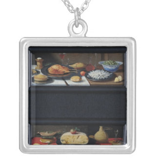 Four Still Lives of Food and Fruit Silver Plated Necklace