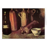 Four Stone Bottles, Flask and White Cup - van Gogh Note Card