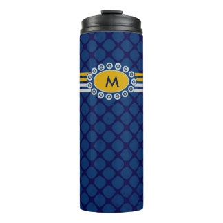 Four Stripes Monogram Blue and Gold ID207 Thermal Tumbler