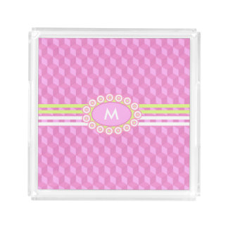 Four Stripes Monogram Pink and Lime ID207