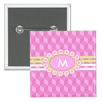 Four Stripes Monogram Pink and Lime ID207 15 Cm Square Badge