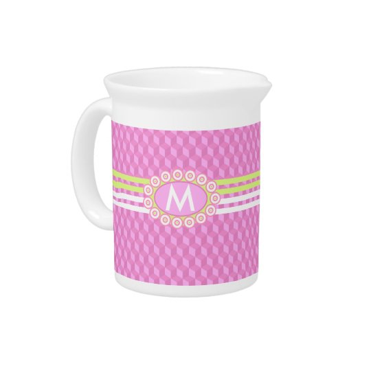 Four Stripes Monogram Pink and Lime ID207 Drink Pitcher