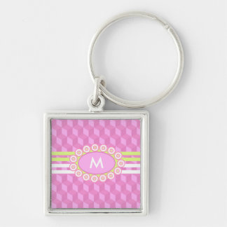 Four Stripes Monogram Pink and Lime ID207 Silver-Colored Square Key Ring