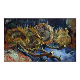 Four Sunflowes gone to Seed by Van Gogh Poster