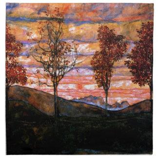 Four Trees by Egon Schiele Napkin
