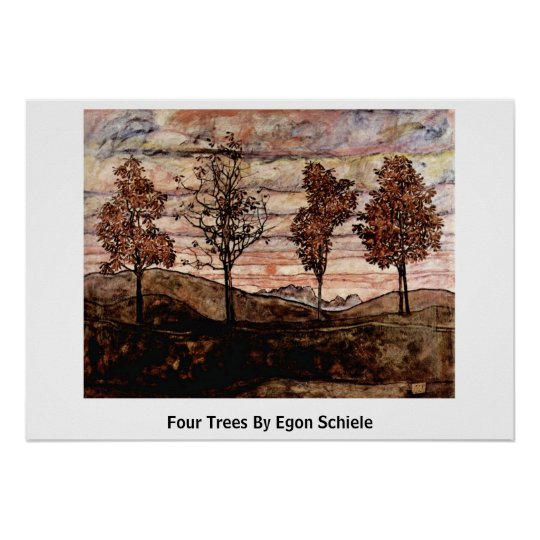 Four Trees By Egon Schiele Poster