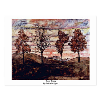 Four Trees By Schiele Egon Post Card