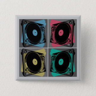 Four Turntables 15 Cm Square Badge