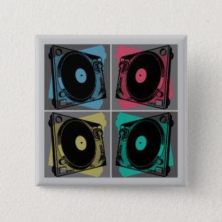 Four Turntables Graphic 15 Cm Square Badge