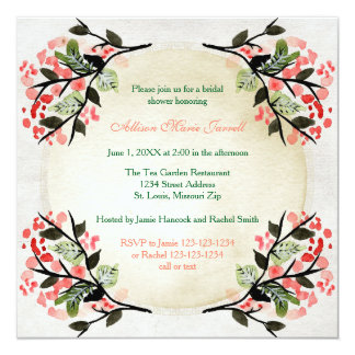Four Watercolor Bouquets -Bridal Shower Invitation