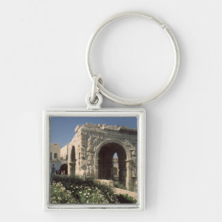 Four-way Arch of Marcus Aurelius and Lucius Silver-Colored Square Key Ring
