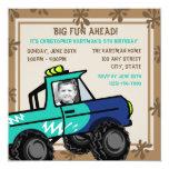 Four Wheel Fun/ Birthday 13cm X 13cm Square Invitation Card