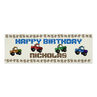 Four Wheeling Truck Birthday Sign Poster