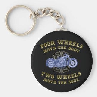 Four Wheels III Basic Round Button Key Ring