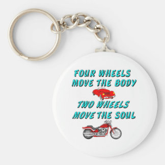 four wheels move the body basic round button key ring