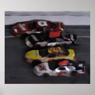 Four Wide NASCAR Prints Print