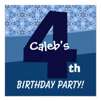 Four Year Old Birthday Blue Pattern For Boy V06C1 5.25x5.25 Square Paper Invitation Card