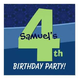 Four Year Old Birthday Blue Pattern For Boy V06C2 5.25x5.25 Square Paper Invitation Card