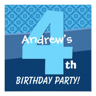 Four Year Old Birthday Blue Pattern For Boy V06C 5.25x5.25 Square Paper Invitation Card