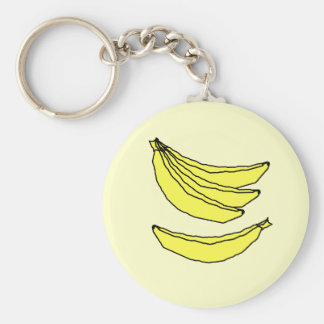 Four Yellow Bananas. Basic Round Button Key Ring