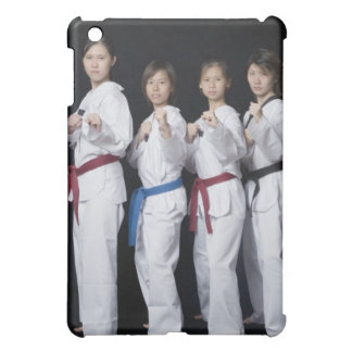 Four young women standing in punching position cover for the iPad mini