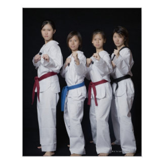 Four young women standing in punching position poster