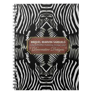 Four Zebra Heads Black White Decor Modern Notebook