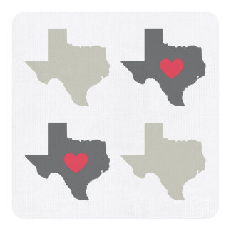 Foursquare Texas Heart Card 13 Cm X 13 Cm Square Invitation Card