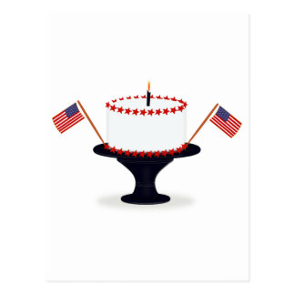 Fourth / 4th of July Birthday Cake Postcard